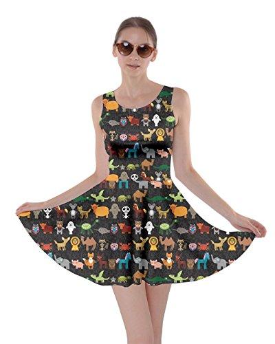 CowCow Womens Black Funny Cartoon Animals Character Black Zoo Skater Dress, Black - M