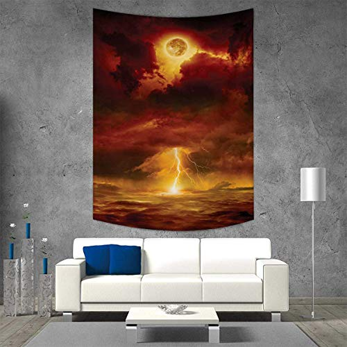 smallbeefly Nature Tapestry Table Cover Bedspread Beach Towel Apocalyptic Backdrop Storm Beams Full Moon End World Like Hell Theme Dorm Decor Beach Blanket 54W x 72L INCH Orange Yellow