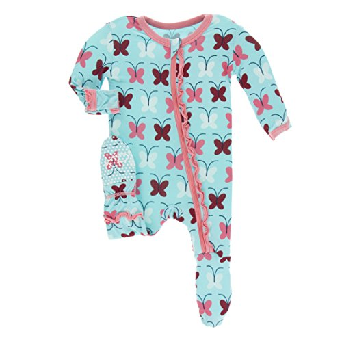 Kickee Pants Little Girls Print Muffin Ruffle Footie With Zipper - Tallulah's Butterfly, 18-24 Months