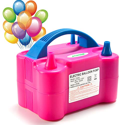 AGPTEK Electric Air Balloon Pump, Portable Dual Nozzle Electric Balloon Blower Air Pump Balloons Inflator for Wedding Party Holiday Decoration ()