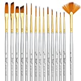Bianyo Detail Paint Brush - Set of 15- Miniature Liners Brushes for Fine Detailing,Model Painting,Airplane Kits, Paint by Numbers Supplies Kit