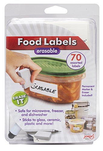 Jokari Label Erasable Food Labels with Markers, 70 - Jokari Erasable Food Labels
