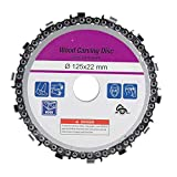 Yakamoz 5 Inch Angle Grinder Disc Chain Plate 14 Teeth 7/8 Inch Arbor Wood Carving Disc Chainsaw Cutter Tool for 125mm Angle Grinder