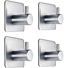 Fotosnow 3M Self Adhesive Hooks Heavy Duty Stainless Steel Closets, Coat,Hat,Towel Robe Hook Rack Wall Mount for Bathroom and Bedroom 4-packs