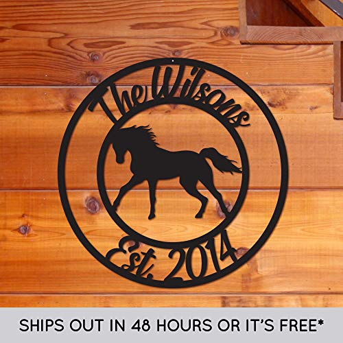 Custom Metal Name Sign - Personalized Horse Sign - Door Hanger - Outdoor Metal Sign - Horse Theme - Equine - Equestrian - Horse Gift