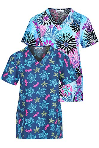 (Minty Mint Women's Microfiber Medical Scrub Printed V-Neck Top Multi Pack Ceil Blue Navy XL)