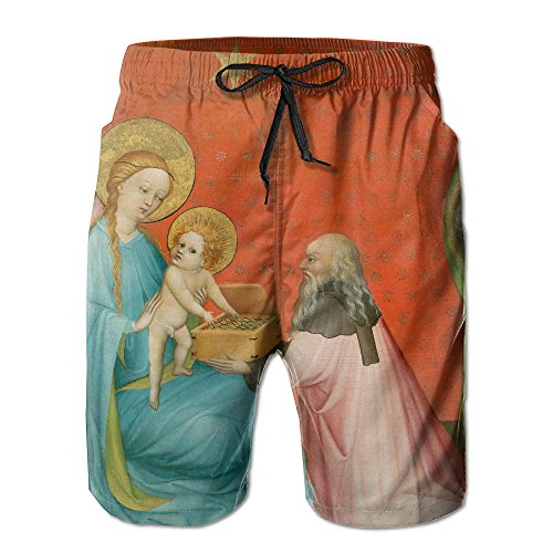 Men's Adoration Of The Magi With Saint Anthony Abbot Quick Drying Ultra Light Surf Pants Swim Trunks XX-Large (Painting Rousseau Oil)