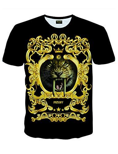 (PIZOFF Mens Short Sleeve Luxury Golden Tiger Design Print T-Shirt Tee AC145-29-XXL)