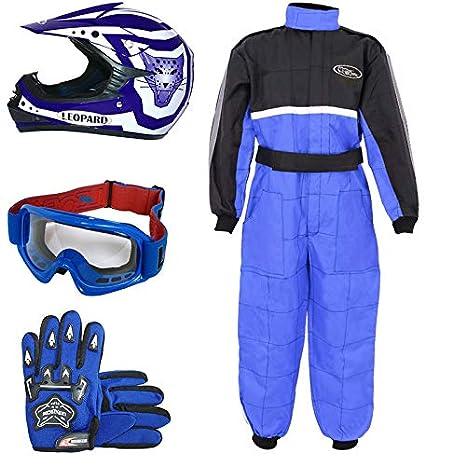 Leopard LEO-X17 Azul Casco de Motocross para Niños (S 49-50cm) + Gafas + Guantes (S 5cm) + Traje de Motocross para Niños - XL (11-12 Años)