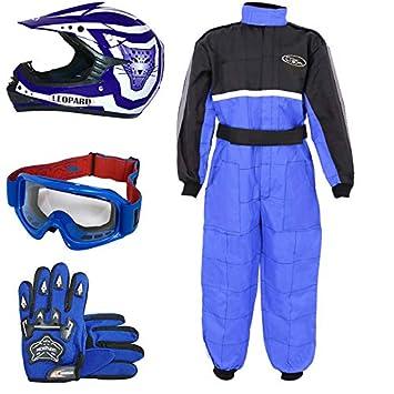 Leopard LEO-X17 Azul Casco de Motocross para Niños (S 49-50cm) + Gafas + Guantes (S 5cm) + Traje de Motocross para Niños - XS (3-4 Años)