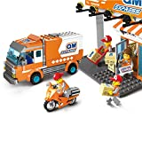YeoMark City Express Station Sets Transport Truck & Motorcycle LEGO Compatible Bricks Building Toys Boys 6-12 Years Old