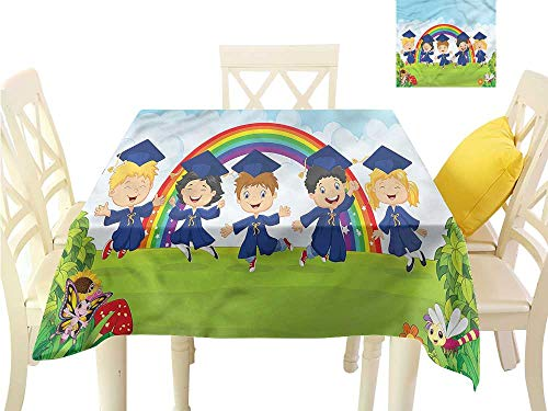 (Davishouse Fabric Dust-Proof Table Cover Nursery Cartoon Kids Washable Polyester - Great for Buffet Table, Parties, Holiday Dinner, Wedding & More W50 x L50)