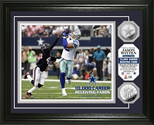 NFL Dallas Cowboys Jason Witten ''10,000 Yards'' Photo Minted Coin, 17'' x 14'' x 3'', Silver by The Highland Mint