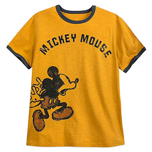 Mickey Mouse Ringer (Disney Mickey Mouse Ringer T-Shirt For Men Yellow Size XL)