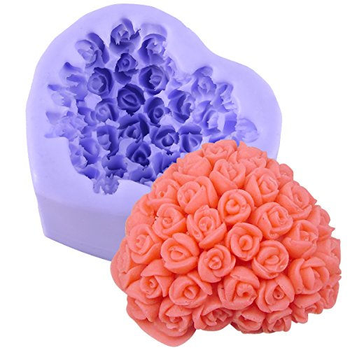 Bouquets Silicone Icing Mould Moulding Cake Cupcake Flower Rose Sugar Paste Sugarpaste Decoration - a bunch of ROSES in heart shape