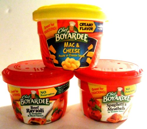 Chef Boyardee Beef Meatballs - Chef Boyardee Microwavable Bowls VARIETY PACK: Beef Ravioli, Mac & Cheese, Spaghetti & Meatballs (12 Pack), 4 of Each Flavor, 7.5 Ounce Bowls