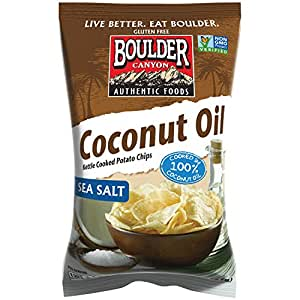 Boulder Canyon Kettle Cooked Potato Chips, Coconut Oil, Sea Salt, 5.25 Ounce, (Pack of 12)