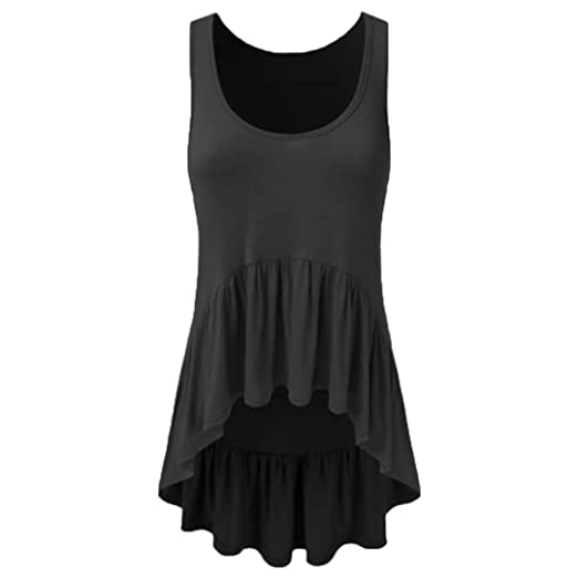 Tank Tops, Women Casual O Neck Ruffle Loose Comfort Irregular Hem Tunic Crop