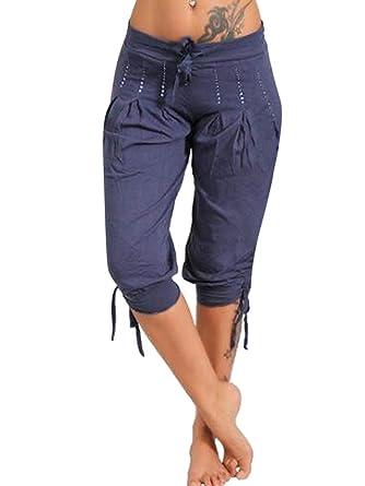 Para estrenar 0863b c555c ORANDESIGNE Pantalones Capri para Mujer Pantalones Baggy Moda Color Sólido  Chino Casual Shorts 3/4 Boyfriend Elástica Yoga Pantalones Cortos