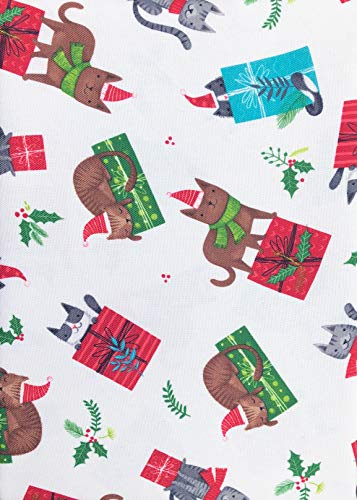Holly Present - Cynthia Rowley Easy Care Holiday Tablecloth Happy Christmas Cats Hats Scarves on Gift Wrapped Presents Holly Berries White 70 Inches Round