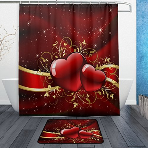 (Naanle Gorgeous Mother's Valentines Day with Red Hearts Waterproof Polyester Fabric Shower Curtain (60