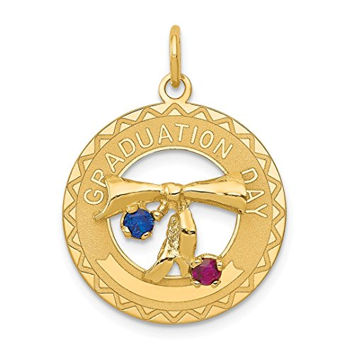 14k Yellow Gold Graduation Day Pendant Charm Necklace Synthetic Stones Special Fine Jewelry Gifts For Women For ()