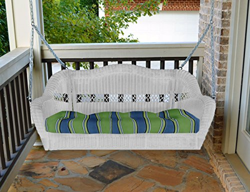 Portside Porch Swing White Wicker -Halliwell Caribbean Cushion (Porch Resin Swing)