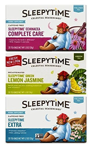 Celestial Seasonings Sleepytime Tea 3 Flavor Variety Bundle, 1 Each: Sleepytime Extra, Sleepytime Echinacea Complete Care, Sleepytime Green Lemon Jasmine (20 Count Ea.)
