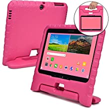 Samsung Galaxy Tab 4 10.1 case for kids, fits Galaxy Tab 3 10.1 [SHOCK PROOF KIDS TAB 10.1 CASE] COOPER DYNAMO Kidproof Child Tab 4 10.1 inch Cover for Girls | Light, Kid Friendly Handle Stand (Pink)