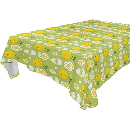 Happy Easter Day Chicken Egg Polyester Tablecloth Table Cove