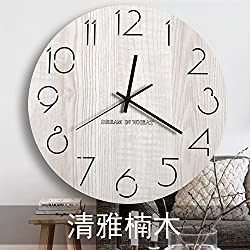 xing lin Wall Decor Clock Kitchen Wall Clock Wall Clock Living Room Modern Mute Living Room Wall Clock Round Clock Office Wall Clock Wooden Miniature Nordic Clock Clock Watch, 10 Inches, Elegant Nan