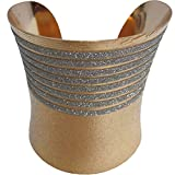 Brass Gold/Silver Two-tone Trendy Style Fashion Belly Dance Adjustable Cuff Indian Bracelet