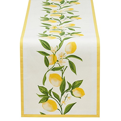 DII Design Imports Lemon Bliss Printed Cotton Table Runner - 14 x 72 Inches - Spring Summer