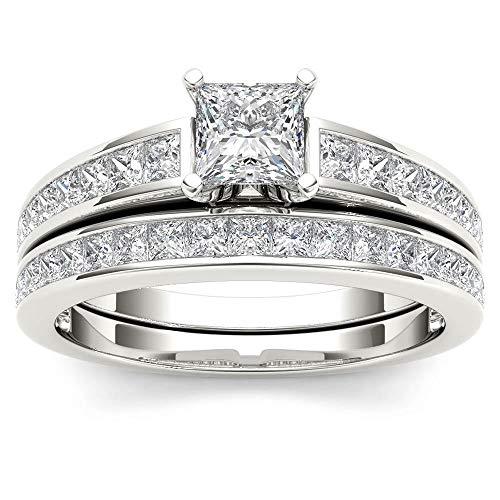 IGI Certified 14k White Gold 1ct TDW Princess-Cut Diamond Engagement Ring Set(I-J, I2) ()