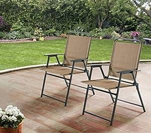 Mainstays Pleasant Grove Sling Folding Chair, Set Of 2 (Tan)