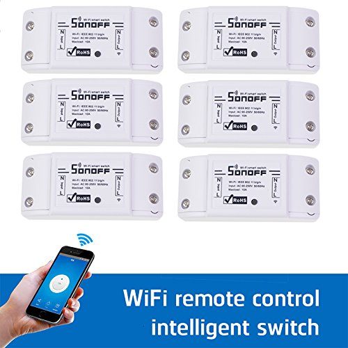 Sonoff WiFi Switch Pack of 6 Wireless Remote Control Electrical for Household Appliances Compatible with Alexa DIY Your Home via Iphone Android App