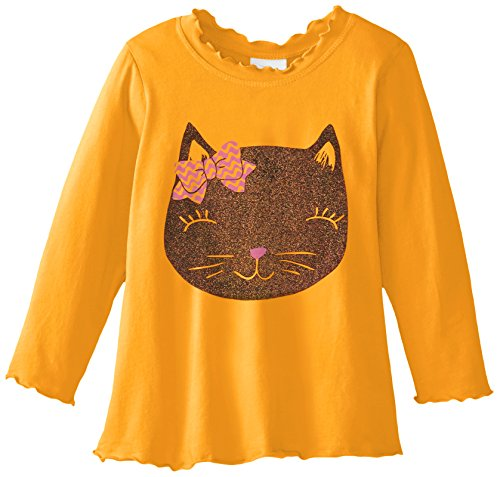 Flap Happy Baby Girls' Girl's Lettuce Edge Tee With Graphic, Glitter Kitty, 24 Months