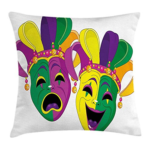 GRATIANUS Mardi Gras Throw Pillow Cushion Cover, Traditional Masks of Tragedy and Comedy Festival Celebration Masquerade Theme,Square Throw Pillow Case Cushion Cover 18x18 inch, Multicolor ()