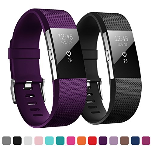 Kutop Bands Compatible for Fitbit Charge 2, Soft Silicone Replacement Sports Accessory Strap Bands Compatible for Charge2 HR Wristband Women Men Girls Boys, Small Large