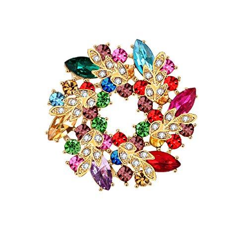 Elehere 2019 Art Deco Crystal Brooch for Wedding Dress, Bridal Sash, Statement Rhinestone Pin, Diamante Broach (Rainbow) ()