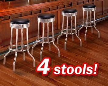Amazon Com The Furniture Cove Man Cave 4 Chrome Black Heavy Duty Restaurant Strong Swivel Barstools Kitchen Furniture Decor