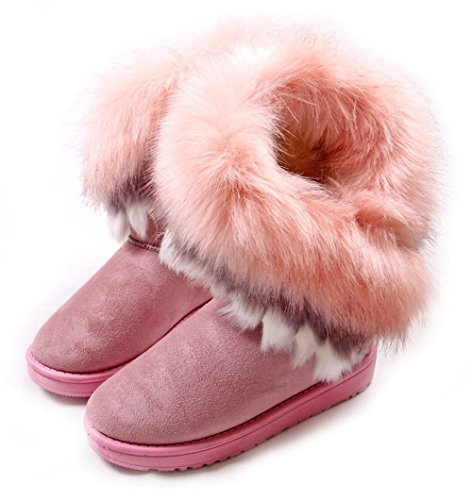 Rabbit Booties - NOT100 Women Winter Warm High Long Snow Ankle Boots Faux Fox Rabbit Fur Tassel Shoes (US8, Pink)