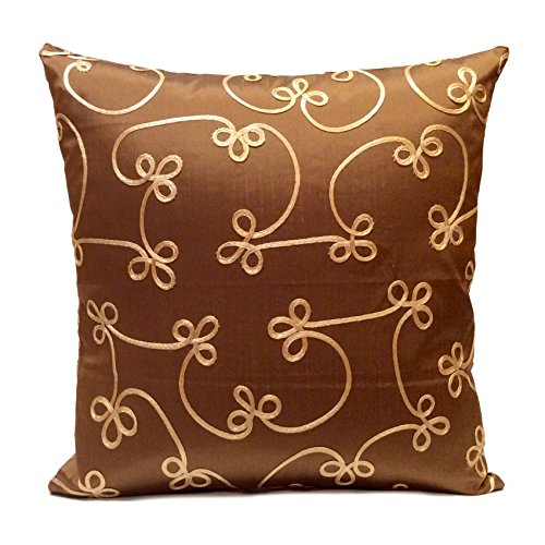 - Milk Chocolate Taffeta Decorative Throw Pillow Cover with gold silk details,Toss Pillow,Accent Pillow,Pillow Sham,Cushion Cover,Modern (16