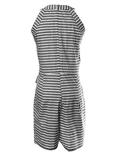 DUBACH Women Casual Striped Sleeveless Short Romper Jumpsuit L Gray by DUBACH (Image #4)