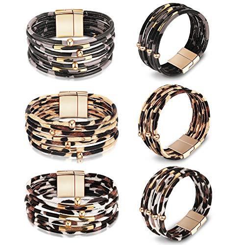 6 Pieces Leopard Bracelets Multilayer Leather Cuff Bracelet Leopard Tube Bracelet for Women Girls