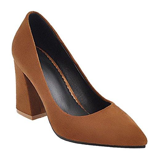 Charm Foot Mujeres Elegante Punta Estrecha Chunky Bombas De Tacón Alto Zapatos Marrón