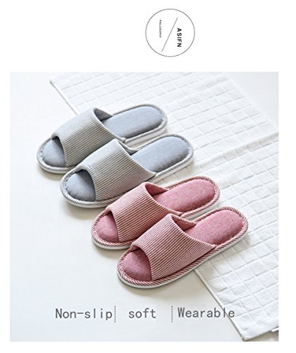 Cotton Men Foam Indoor Women Pink Casual Slippers Striped Asifn Home Memory Massage House Flax House Cozy wnqx40xp