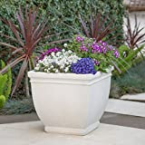 Great Deal Furniture Leo Outdoor Antique White Finished Cast Stone Planter