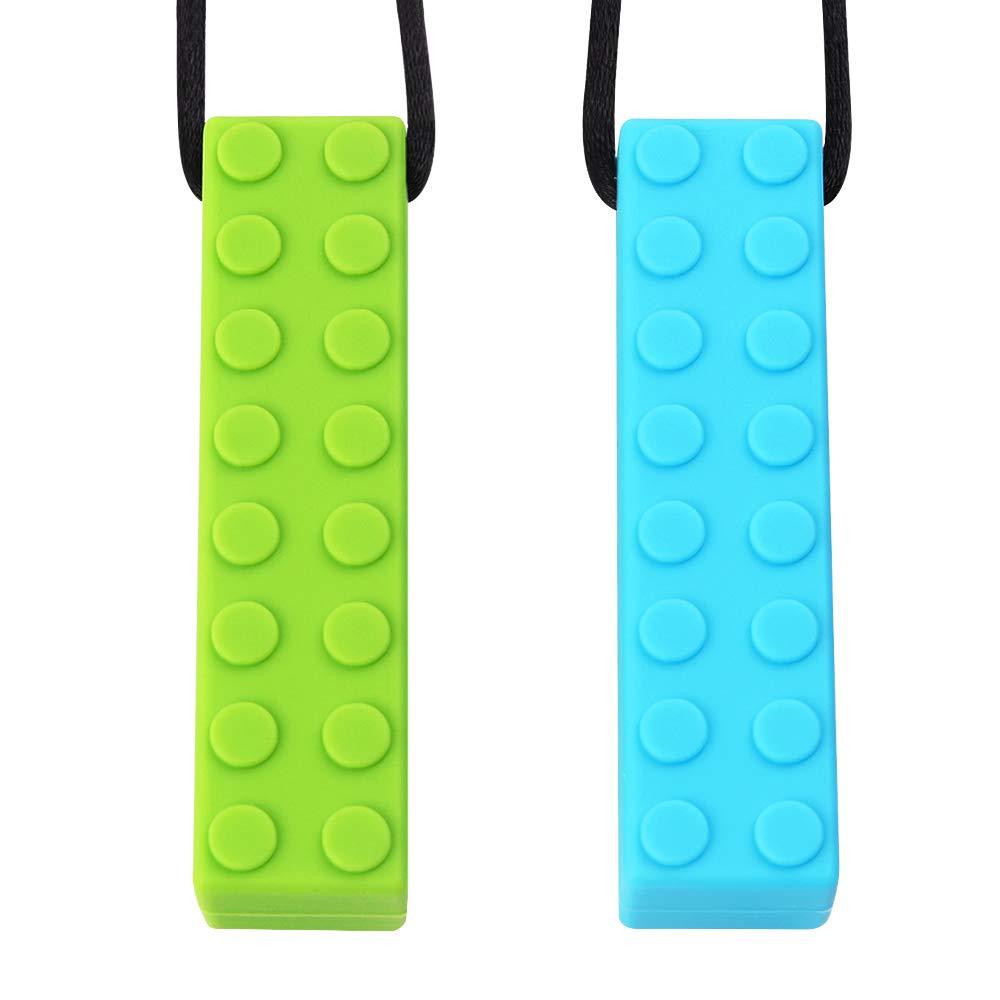 Sensory Chew Halskette von TYRY.HU Set Lego Beißring Silikon Kauen Anhänger Perfekt für Autismus ADHS SPD Oral Motor Zahnen & Beißen braucht 2 Packs Tough und langlebig (Grün Blau)