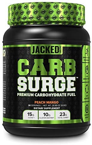 CARB Surge Carbohydrate Powder – Clean Workout Fuel w Carb10 Pea Starch Cluster Dextrin for Enhanced Performance, Lean Muscle Mass, and More – Peach Mango Flavor, 30 SV